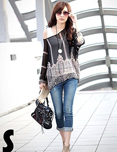 sitengle Donna Sciolto T-Shirt Manica a 3/4 Stampato Floreale Colorato Maglia Chiffon Bluse Camicia Camicetta Tops Color 5