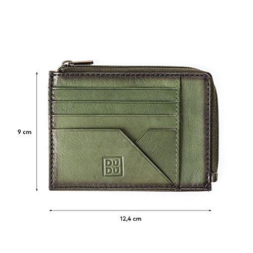 Bustina portamonete documenti carte di credito uomo in pelle con lampo DUDU Verde