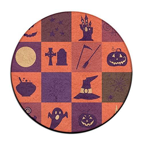xinyanghongda Halloween Black and Orange Icons Anti Slippery Door Mat Soft Memory Foam Pads (23.6 Inch) Floor Mats Round Area Rug