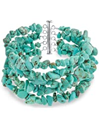 Bling Jewelry 925 Silver Reconstituted Turquoise 5 Strand Nugget Bracelet 8in