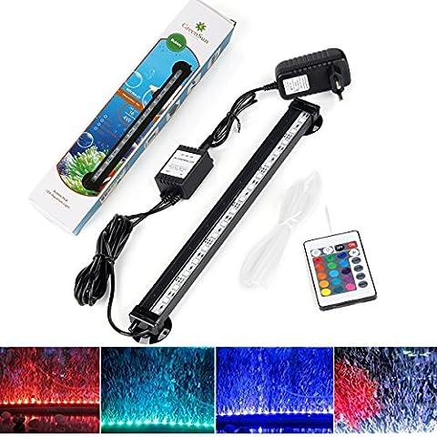 GreenSun LED Lighting 32cm RGB 18Led étanche IP68 Luminaires D'éclairage Aquarium Tube Fish Tank Lumière Submersible + 24 Boutons De Contrôle à Distance RC/Led Aquarium