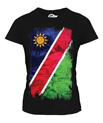 Candymix Namibia Grunge Flagge Damen T Shirt, Größe Large, Farbe Schwarz - Ringspun-fußball-t-shirt