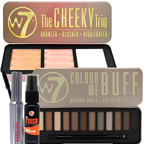 Lash Supplement (W7 Ultimate Package Includes Colour Me Buff Palette ,Cheeky Trio,Absolute Lashes Mascara & Fixer Spray)