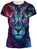 TDOLAH Damen Sommer Shirt Bluse 3D Print Kurzarm Design Tops Hemd T-Shirt (Größe S, A-Totem Löwe)