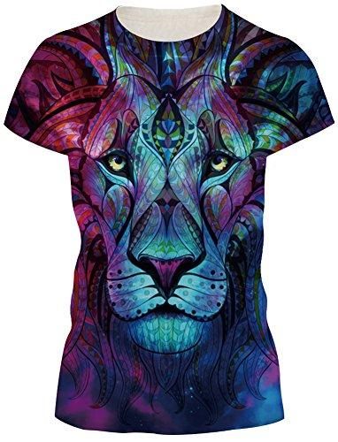 TDOLAH Damen Sommer Shirt Bluse 3D Print Kurzarm Design Tops Hemd T-Shirt (Größe M, A-Totem Löwe) (Den Verkauf Für Halloween-artikel)