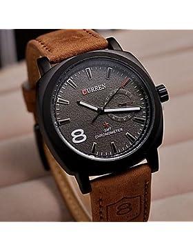 Fenkoo Curren 8139 Zifferblatt braunes Lederarmband Geschäfts Uhr Armee Militär-Armbanduhren Quarz männlichen...