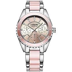 LuckyGirls Reloj Mujer Elegante, Alloy, Correa La Cerámica Impermeable La Noche La Luz Relojes (Rosa)