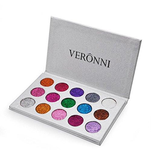 Tefamore 15 Farben Schimmer Glitter Lidschatten Pulver Palette Lidschatten Kosmetik Make-up