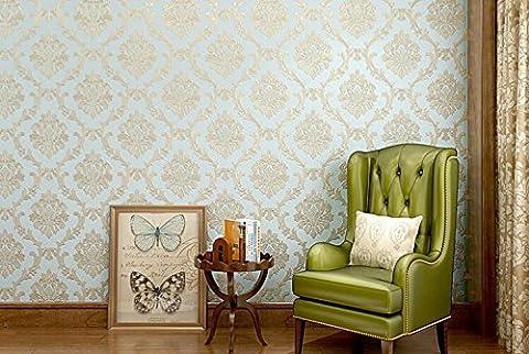 Xzzj stéréo 3d Continental de luxe vertical de traces élégant et élégant Salon Chambre à coucher TV murale papiers Fond papier peint, Bleu clair
