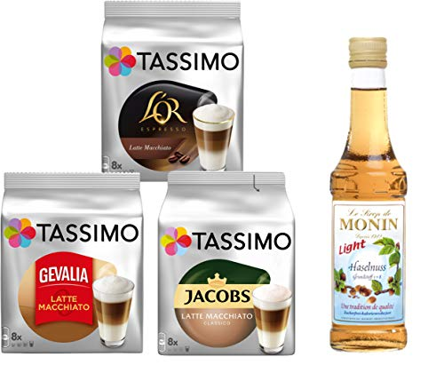 Tassimo® meets Monin® | Set 07 | Latte Macchiato | Sirup | Jacobs | Gevalia | L'OR | 3 verschiedene Tassimo Sorten & 1 Flasche Monin Haselnuss Light Sirup 250ml