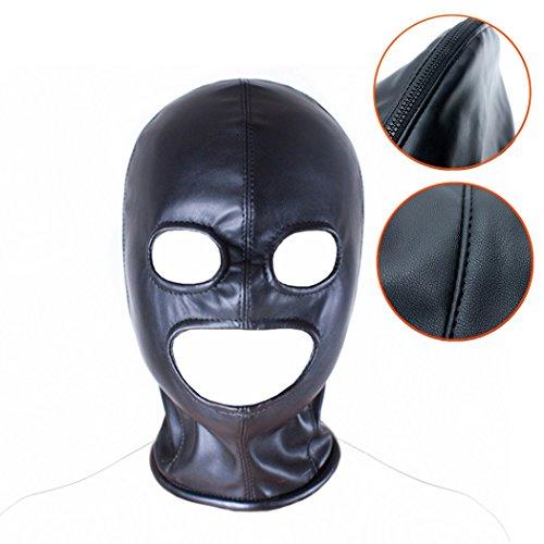 SXOVO BDSMs 3 Loch Leder Erotik Masken Kopfmaske Mit Reißverschluss Offenem Augen und Mund Hohl Bondage Fetisch Cosplay Sex Toy (Schwarz)
