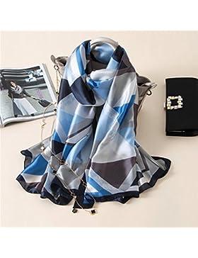 Mujeres Bufandas Pañuelo de seda Mantón de seda Hijab envoltura bandana azul,azul,180*90 cm.
