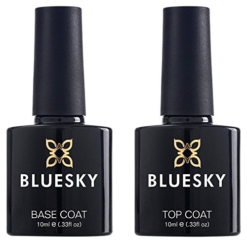 BLUESKY UV LED Gel auflösbarer Nagellack 10ml kit top and base coat, 1er Pack (1 x 2 Stück) -