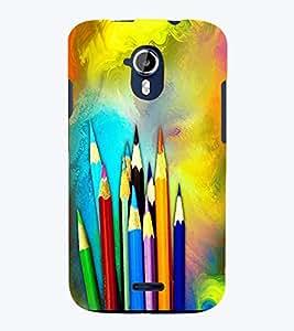 PrintVisa Modern Art Pencil Color 3D Hard Polycarbonate Designer Back Case Cover for Micromax Magnus A117