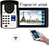 Apparecchiature il controllo degli accessi Smart IR Night Vision 7 pollici HD, campanello video visione notturna, impronta digitale Kit videocitofono videocitofono, campanello wireless bidirezionale