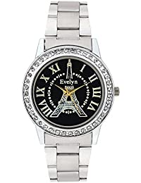 Evelyn Eiffel Tower Black Dial Analogue Metal Strap Wrist Watch For Girls - Women -Eve-560