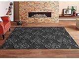 Oedim Teppich Multicolor Grauer Dunkler Grauer Hintergrund Damast PVC  95x133cm   PVC-Teppich   Vinylboden   Dekoration