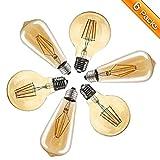 Vintage LED Edison Glühbirne, Elfeland E27 4W Antike LED Filament Lampe Dekorative Glühbirne (2200K, 400LM, Modell G80&ST64) Amber Glas Ersetzt 40W Ideal für Nostalgie und Retro Beleuchtung