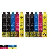 DOREE 10 x Compatible XL Ink Cartridges for Epson WorkForce WF 2660DWF 2650DWF 2630WF 2540WF 2530WF 2520NF 2510WF Epson T1626 T1621 2010W T1622 T1623 T1624 16XL for 4 x Black 2 x Blue 2 x Red 2 x gelb