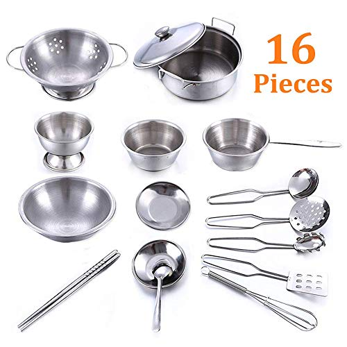 ay Kitchen Pans and Pots Metal Set, Kids Role Pretend Utensils Play Let''s Play House Cookware Accessories, Safe Durable Smooth Stainless Steel Playing Kitchen Roleplay Toys ()