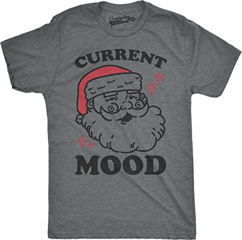 Crazy Dog Tshirts - Mens Current Mood Santa Funny Christmas Holiday Party Ho Ho Ho T Shirt For Guys (Grey) 5XL - Camiseta Divertidas