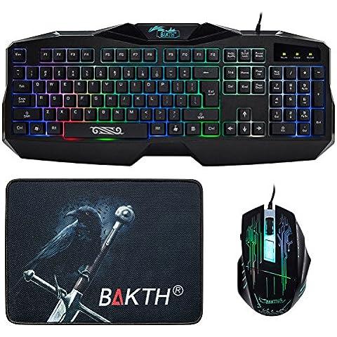 BAKTH SET-7C - Teclado (Qwerty, retroiluminado, USB - kit con ratón y alfrombrilla), color negro