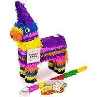 Trendario Esel Pinata Set, Pinjatta + Stab + Augenmaske, Ideal zum Befüllen mit Süßigkeiten und Geschenken - Piñata Pferd für Kindergeburtstag Spiel, Geschenkidee, Party, Hochzeit
