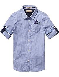 Scotch Shrunk Jungen Hemd Blue Series Shirt with Detachable Pocket Square