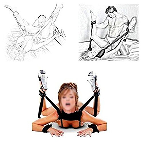 SM Restraint System with Ankle and Wrist Cuffs ,Paloqueth Adjustable Bondage Restraint Kit with Black Eye Mask