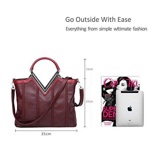 Nicole&Doris Nuove donne / signore Shoulder Bag Messenger borsa casuale della treccia di modo V-Shaped Rosso Rosso