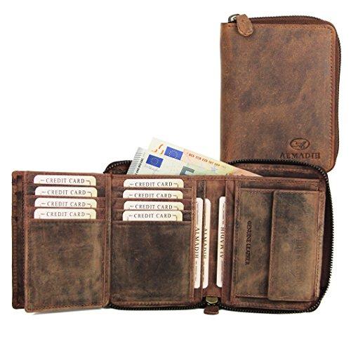 ALMADIH® Premium Leder Portemonnaie hochformat mit Reißverschluss 17 Kartenfächer in Geschenkbox (P2H-RV DB-V) Herren Börse Geldbörse Geldbeutel Portmone Brieftasche braun vintage (P2H-RV Dunkelbraun)