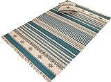 Second Nature Kovalam Geometrische Streifen Wolle Kelim Teppich Blau Grau weiß (Fair Trade) 120cm x 180cm