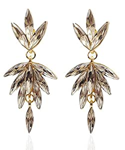 YouBella Jewellery Summer Special Gold Plated Hanging Fancy Party Wear Earrings for Girls and Women (Wine)