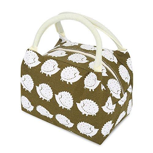 Borsa da picnic pranzo al sacco termica portatile cotone coibentato borsa riutilizzabile per alimenti donne e bambini alla moda scuola shopping (hedgehog)