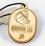 Original Banana Joe Schlüsselanhänger aus Natur-Holz Esche im Vintage-Style mit Gravur inkl. Echtleder-Band #1002k