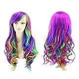 Parrucca colore parrucche anime seven-color Rainbow Cosplay parrucca color arcobaleno Harajuku gradiente Cosplay