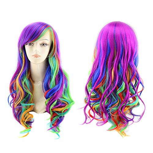 Peluca color peluca anime siete colores arcoíris