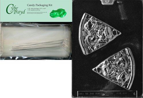 Cybrtrayd mdk25s-k086Pizza Slice Kinder Schokolade Candy Form mit Verpackung Bundle, inkl. 25Cello Taschen, 25silber Twist Krawatten und Schokolade Formen Anweisungen -