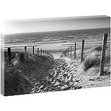 Weg zum Nordseestrand   V1720544   Bilder auf Leinwand   Wandbild im XXL Format   Kunstdruck in 120 cm x 80 cm   Bild Strand Dünen Meer Nordsee (Schwarz-Weiß)