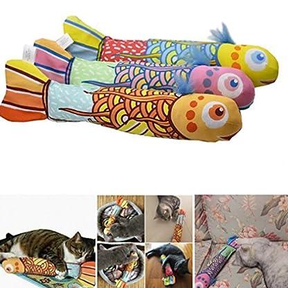 VWH Catnip Cat Toys Animal Plush Fish Play Toy 3D Fish Cushion Pillow (20cm gold) 5