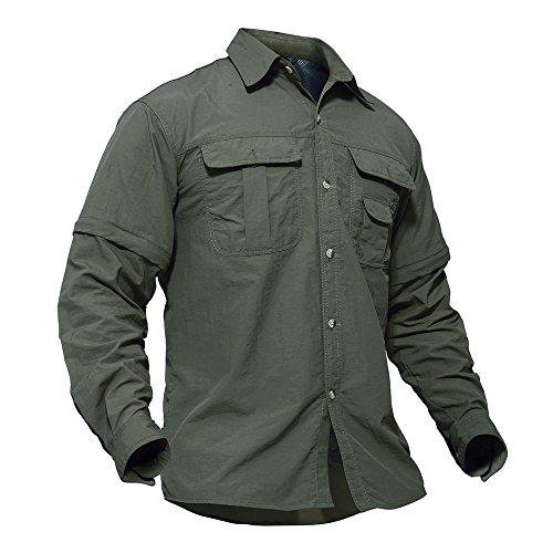 TACVASEN Outdoor Shirts Herren Camping Wandern Angeln Hemd Schnell Trocknendes T-Shirt Sommer Sports Zip Tee Top Grün (Langarm-herren-arbeitshemd)