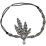 Babeyond® 1920s Stil Blatt-Medaillon Rundes Stirnband mit Perlen Inspiriert von Der Große Gatsby Accessoires für Damen (Schwarz)