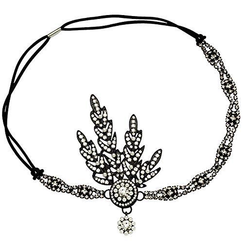 Flapper Kostüm Fashion Schwarz - Babeyond® 1920s Stil Blatt-Medaillon Rundes Stirnband mit Perlen Inspiriert von Der Große Gatsby Accessoires für Damen (Schwarz)