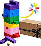 Jaques of London Tumble Tower - MULTI PURPOSE 3 IN 1 - Family Game / Construction Blocks / Multi Coloured Tumble Tower - Quality Jaques Building Game - Playing Blocks Since 1795