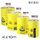 60g (Caorse) + 80g (M) + 120g (fine) + 220g (molto fine) in ossido di alluminio rotolo di carta set-4x 10m (Klingspor-Germany)-migliore affare su Amazon.