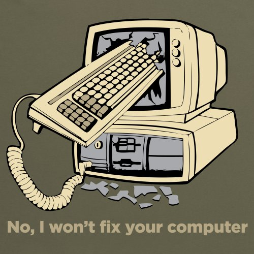 Fix Your Computer T-Shirt, Damen Olivgrn