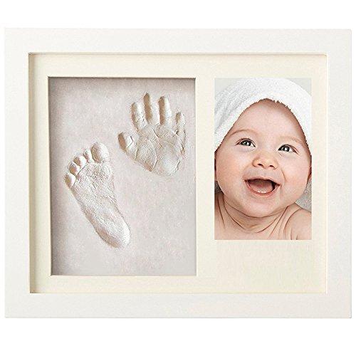 ZZHK Babyprints Neugeborenes Baby Handabdruck und Fußabdruck-Bilderrahmen-Kit, Ton-Andenken,White