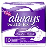 Always Twist & Flex Binden, Long Plus Einzelpack, 10er Pack (10 x 10 Stück)