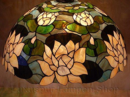 Tiffany Stil Pendelleuchte FLOSA - mit beigen Seerose (Tiffany Seerose)