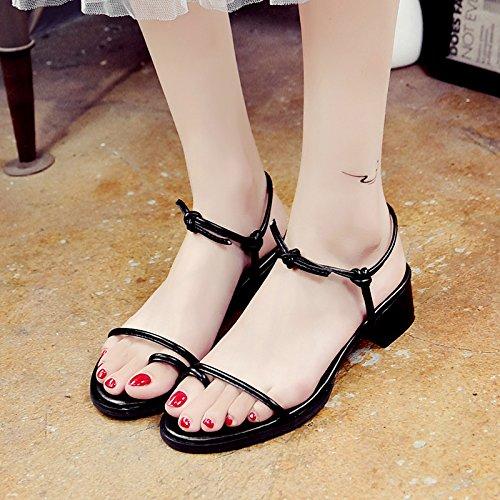RUGAI-UE Sandali estivi studenti bendaggio Toe scarpe semplici Black